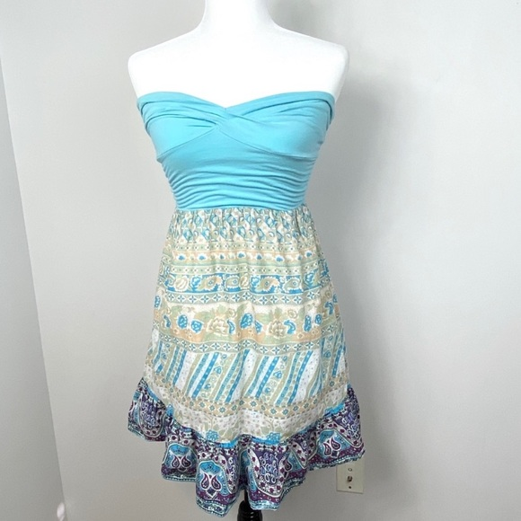 Free People Strapless Printed Mini Dress Turquoise